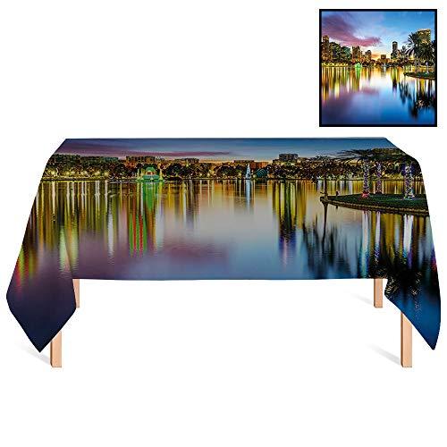 SATVSHOP Premium Fitted Tablecloth /60x120 Rectangular,Modern Famous USA Urban Downtown View of Orlando Florida EOLA Lake Romantic Scene Blue Yellow.for Wedding/Banquet/Restaurant.