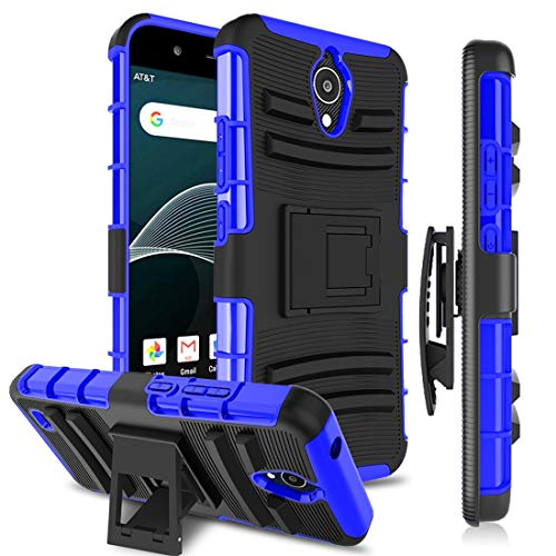 AT&T AXIA Case QS5509A, Circket Vision Cell Phone Cases [Kickstand&Belt Clip] Heavy Duty Dual Layer Bumper Rugged Shockproof Protective Cover for Men/Women for AT&T AXIA Cricket Vision DQON5001, Blue