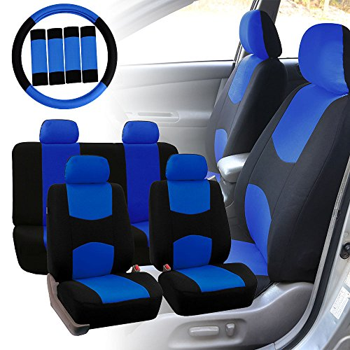 - FH Group FH-FB050114 Full Set Flat Cloth Car Seat Covers w. FH2033 Steering Wheel Cover and Seat Belt Pads, Blue/Black Color - Fit Most Car, Truck, SUV, or Van