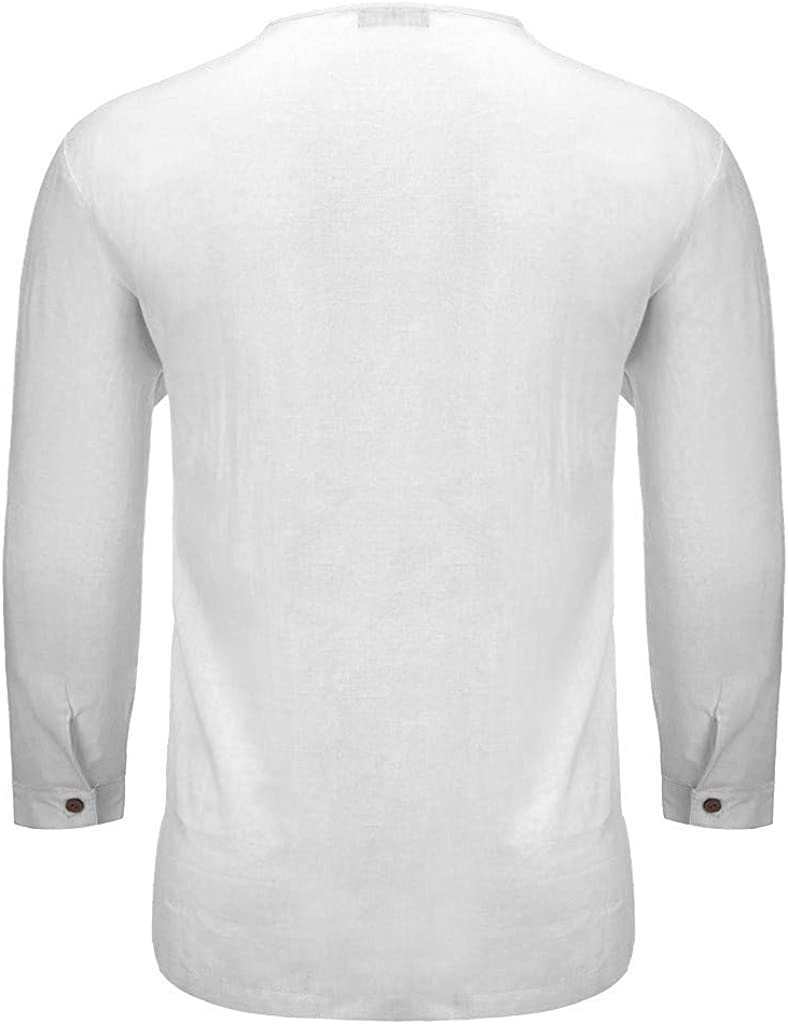 Corriee Shirts for Men Breathable Cotton Linen Long Sleeve T Shirt Blouse Mens Comfy Solid Color Tunic Tops /…