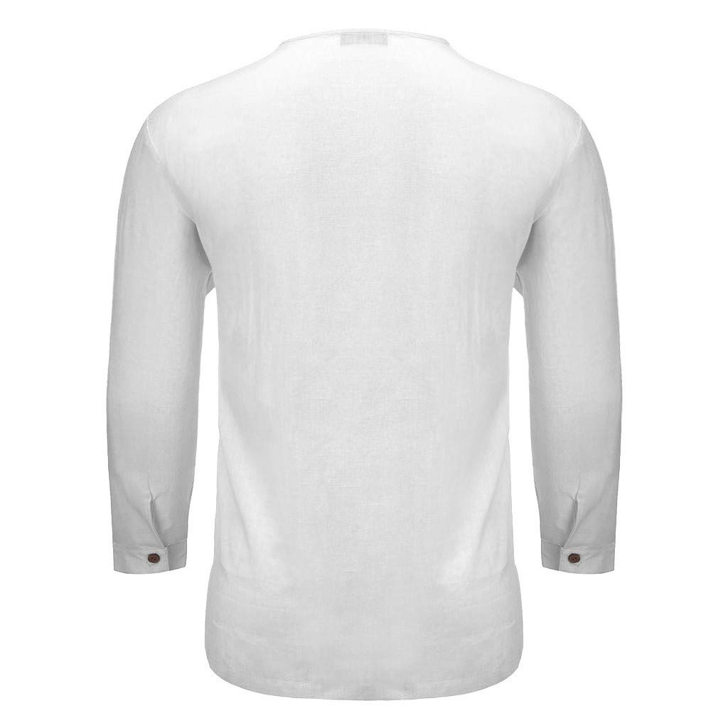Pervobs 2019 Newest Mens Summer Solid Color Cotton Linen 3//4 Sleeve O-Neck Casual Basic Loose T-Shirts Top Blouse