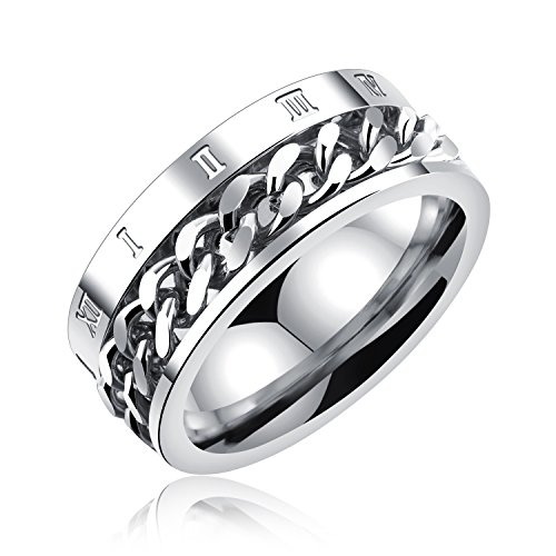 AIZU Titanium Stainless Steel Chain Inlay Roman Numerals Ring,Selective Gift Box Included ()