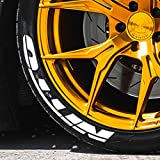 Tire Stickers - 'NITTO' - White Tire Lettering Accessory - Glue On, DIY, Easy - Free 2oz Bottle Touch-up Cleaner - (17''-18''/1'' - 4 DECALS)