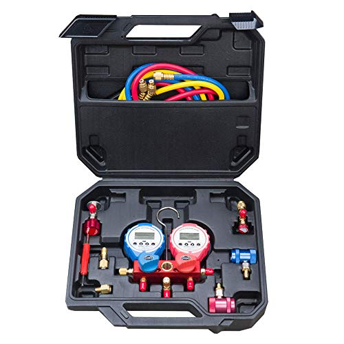 WOSTORE Wireless Digital Pressure Gauge Set Dual-Table Valve High Accuracy Suitable for Freon Charging and Vaccum Pump Evacuation R134a R22 R12 R404A R407C HVAC with Refrigerant Charging Hoses