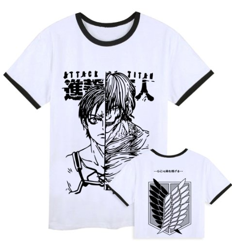 New Attack on Titan Shingeki no Kyojin Black and White T-Shirt Size XXL
