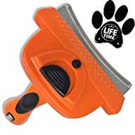 GoPets Deshedding Tool with Self Cleaning Curved Comb, Sturdy and Ergonomic Handle, 4-Inch Blade