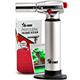 #1: Jo Chef Professional Culinary Torch – Aluminum Refillable Crème Brulee Blow Torch – With Adjustable Flame – Perfect for Cooking, Baking, Crafts, BBQs – FREE Heat Resistant Place Mat + Recipe eBook