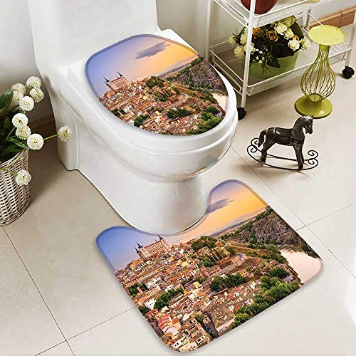 SOCOMIMI Lid Toilet Cover Collection Toledo Spain Old City Over The Tagus River Downtown Castle Architectural Ancient Personalized Durable by SOCOMIMI