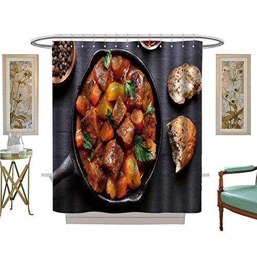 - luvoluxhome Shower Curtains Waterproof Goulash Beef stew in cast Iron pan on Background top View Fabric Bathroom Decor Set with Hooks W72 x L72