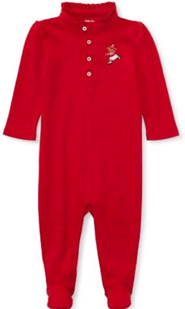 RALPH LAUREN Baby Girls Polo Bear Footed Coverall