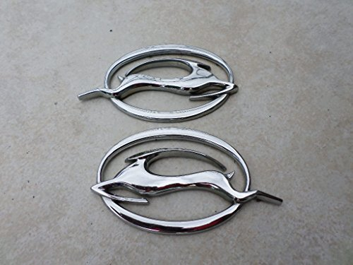 (00-05 Chevy Impala Leaping Deer Right Side Chrome Emblem 104-24490 Left Side 104-24491 Badge Logo Set of 2)