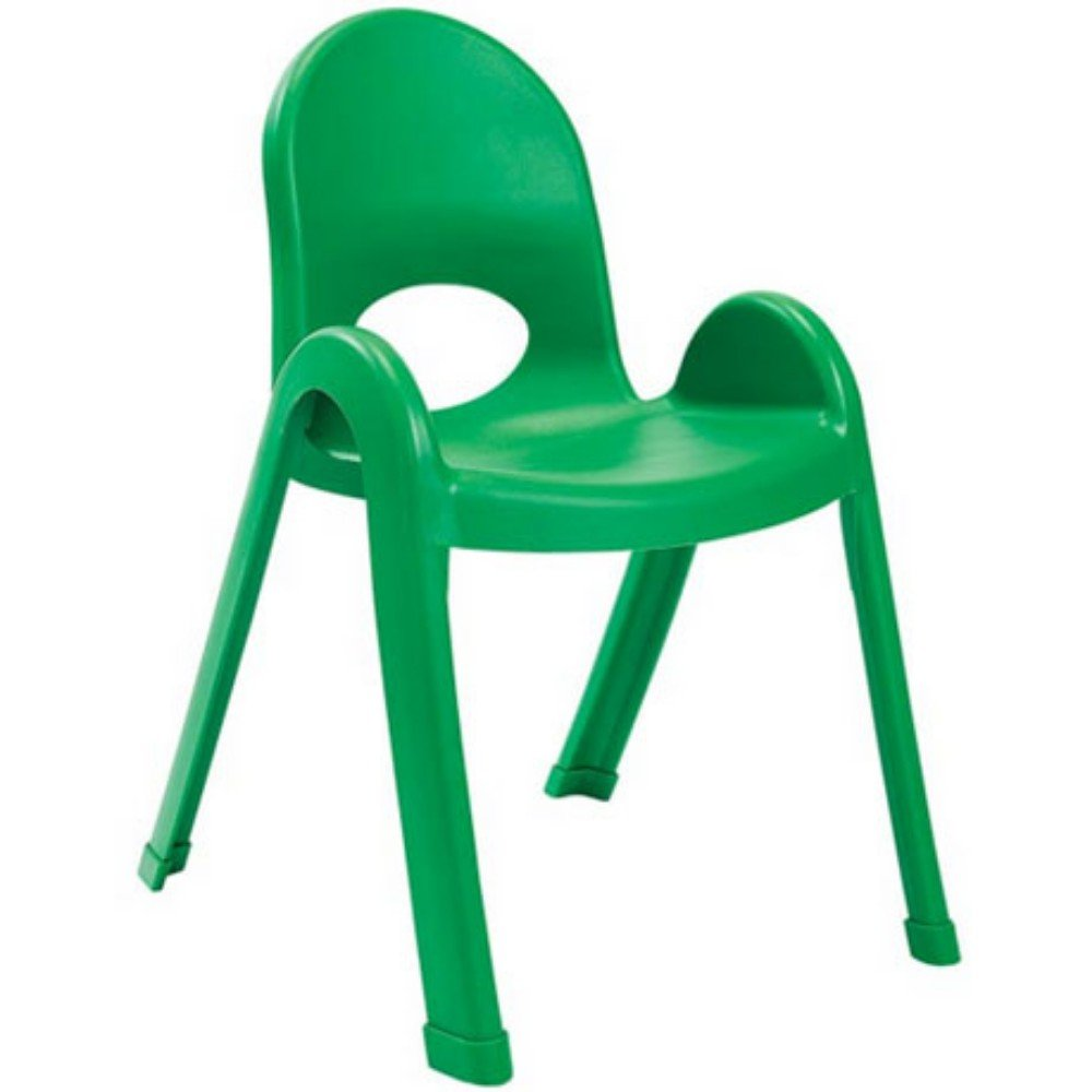 Angeles Home Daycare Preschool Classroom 13'' Value Stack Chair Shamrock Green