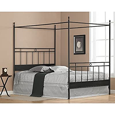 Black Metal Queen-size Canopy Bed. The Frame Has Horizontal and Vertical Bars for a Masculine Look. Guaranteed. Add Your Own Queen Mattress for Resort Like Comfort From Your Bedroom Furniture. The Sturdy Four Poster Updates with Contemporary Style. - Finish: Antique black Metal Boxspring required: Yes - bedroom-furniture, bed-frames, bedroom - 51UR uYTGxL. SS400  -