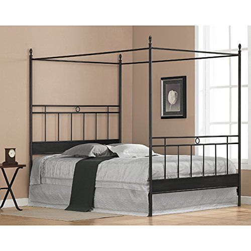 Black Metal Queen-size Canopy Bed. The Frame Has Horizontal and Vertical Bars for a Masculine Look. Guaranteed. Add Your Own Queen Mattress for Resort Like Comfort From Your Bedroom Furniture. The Sturdy Four Poster Updates with Contemporary Style. (Bed Queen Metal Canopy Size)