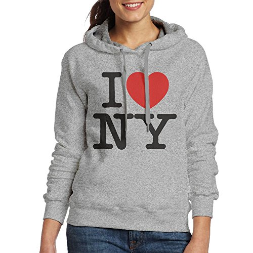 Grhoodie1 Love New York Women's Soft Long Sleeve Pullover Hooded Sweatshirt Ash Size - Outlet Albany