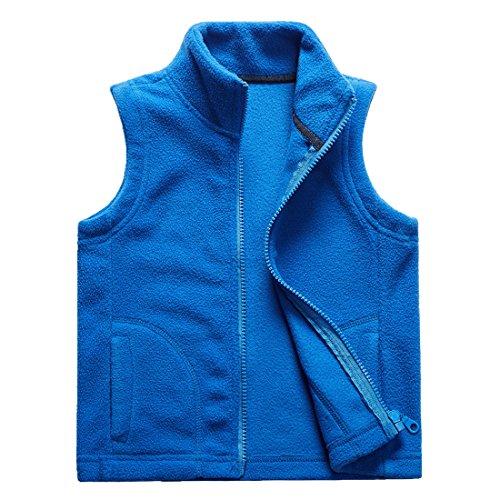Sooxiwood Little Boys Fleece Vest Pocket Zipper Size 8 Blue -