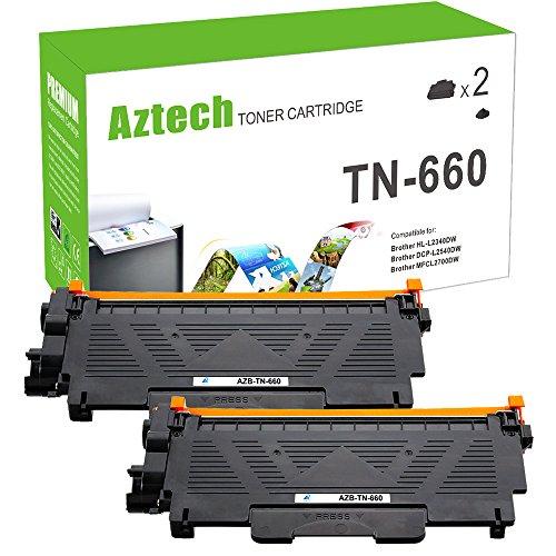 Aztech [2] High Yield Tn660 Toner for Brother TN 630 660 TN630 Brother MFC-L2700DW HL-L2380DW HL-L2320D HL-L2360DW HL-L2300D DCP-L2540DW DCP-L2520DW HL-L2340DW Cartridge Toner Laser Printer Black Ink