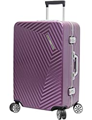 Andiamo Elegante Luggage Aluminum Frame 24 Zipperless Suitcase With Spinner Wheels
