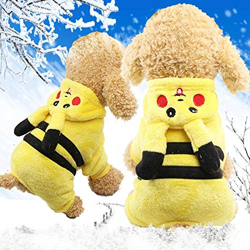 Cowmole Co. Cute Cartoon Pikachu Design Dog Clothes Cosplay Pets Costume Dog Clothing for Cats Puppy Hoodie Dog Autumn Winter Warm Coat -