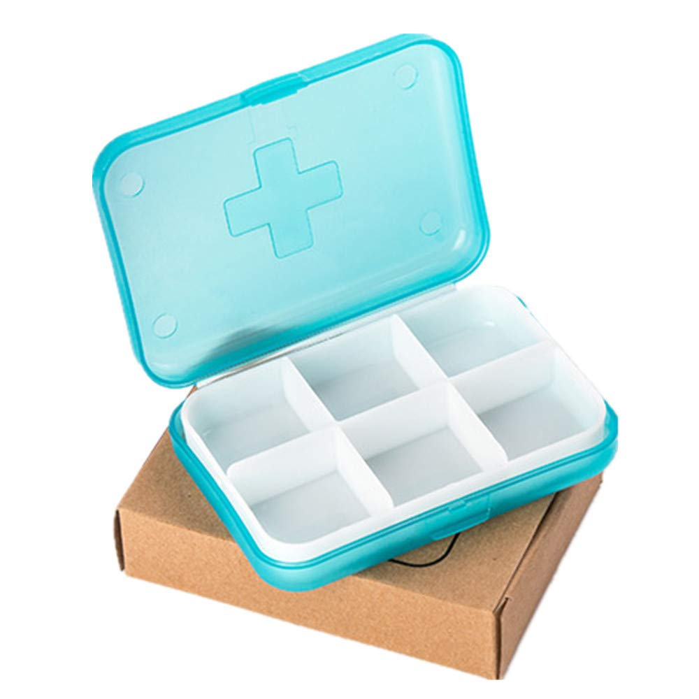 Colmkley Portable Travel 6-Slot Medical Pill Box Holder Medicine Case Drug Storage New, Pill Drug Jewelry Coin Box Caddy Home Camping for Pills Vitamin Fish Oil Supplements