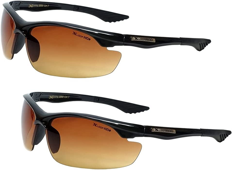 72021a9165 Xloop HD Vision High Definition Anti Glare Driving Lens Sunglasses Wrap  Semi Rimless Sports Eyewear (