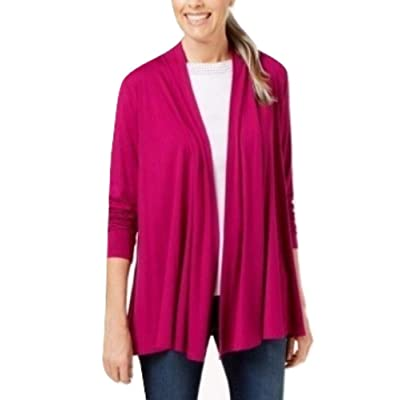 Karen Scott. Draped Open-Front Cardigan, Cranberry Rose M at Women's Clothing store