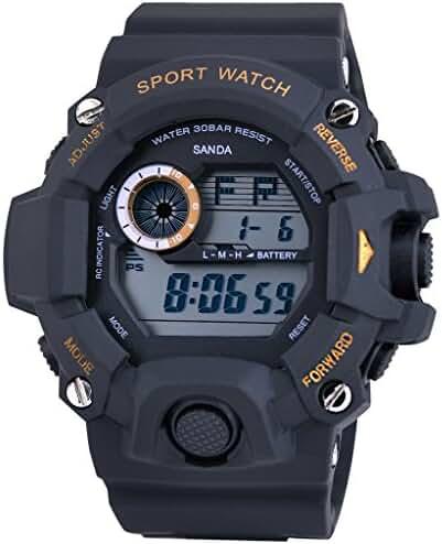Cool Summer LED Digital Electronic Outdoor Waterproof Wrist Sport Watch rubber For Boys Black+Blue