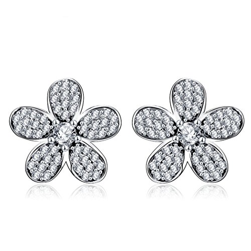 RYRYBH 925 Sterling Silver Stud Earrings Lucky Clover Personality Rhinestone Stud Earrings Retro Fashion Office Party Banquet Earrings Female Accessories (Color : Silver) ()