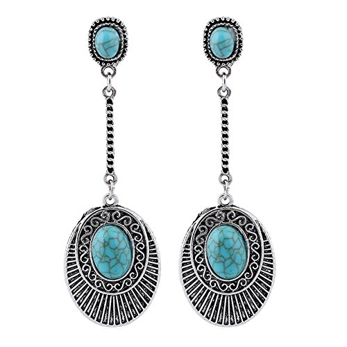 (Sunliy Vintage Turquoise Floral Pattern Tassel Earrings Exquisite Ethnic Style Drop Shape Design Long Pendant Earrings Ear Studs charming Jewelry Gift 82.5cm)