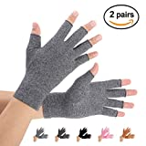 Arthritis Gloves 2 Pairs, Compression Gloves Support and Warmth for Hands, Finger Joint, Relieve Pain from Rheumatoid, Osteoarthritis, RSI, Carpal Tunnel, Tendonitis, Women and Men (Gray, Medium)