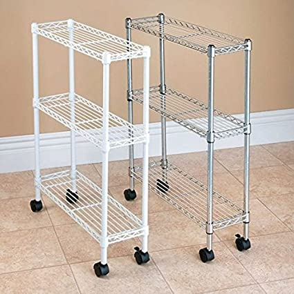 Slim Rolling Laundry Storage Cart 3 Tier Space Saving Metal Wire Utility  Shelf (Chrome)