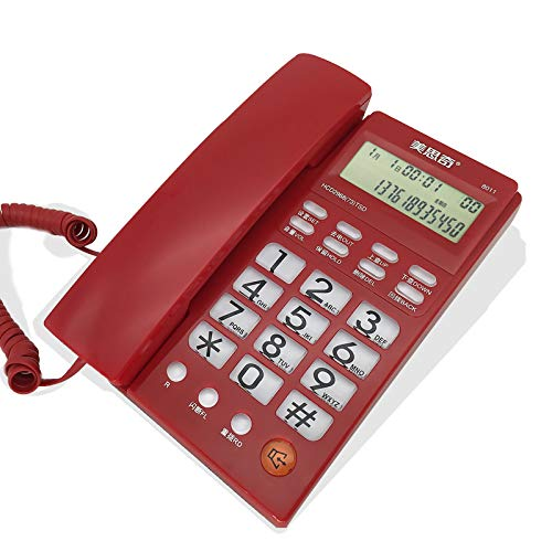 (Caller ID Phone, Stylish Office Home Landline, Wired Phone,No Battery, Gray (Color :)