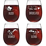 Funny Stemless Wine Glass Set | Animal Pack Set of 4 Glasses | Buzzed, Infoxicated, Skunked and Slothed | Novelty Wine Glasses with Cute Sayings for Women, Her | Quality Made in USA For Sale