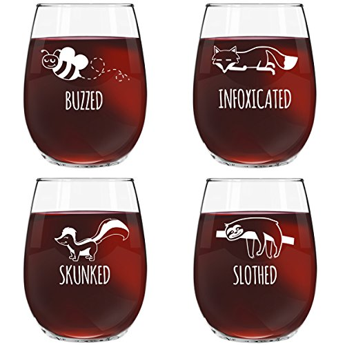 Funny Stemless Wine Glass Set | Animal Pack Set of 4 Glasses | Buzzed, Infoxicated, Skunked and Slothed | Novelty Glasses with Cute Sayings for Women, Her | Quality Made in USA ()