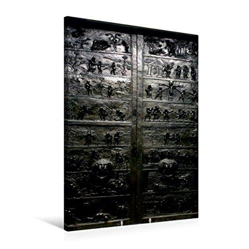 Calvendo Premium Textil-Leinwand 60 cm x 90 cm cm cm hoch, Die Bernwardtür des Hildesheimer Doms ist die älteste geschmückte Bronzetür.   Wandbild, Bild auf Leinwand, Leinwanddruck Glaube Glaube f26921