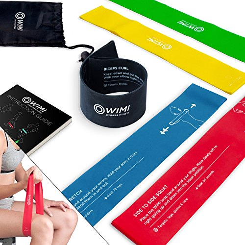 5 Exercise Bands with Essential Exercise Instructions Printed on the Bands for Stretching - Physical Therapy & Resistance Training - 12 x 2 inches Loop Bands