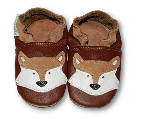 Fiorino piel–Patucos de zapatos de bebé lauflern–Zapatos de motivos en diferentes colores y Tamaños azul Fuchs Blau Talla:L Fuchs Braun