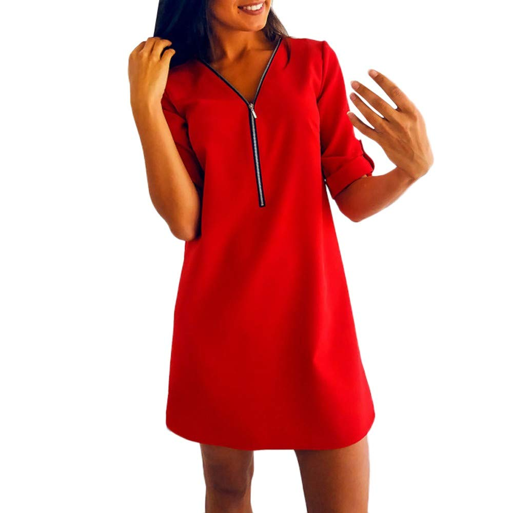TEBAISE Damen Freizeit Bluse Chiffon Oberteile V Ausschnitt Reißverschluss Mode Hemd Elegante Tank Tops Manschetten-Ärmel Locker Shirt Oberteile
