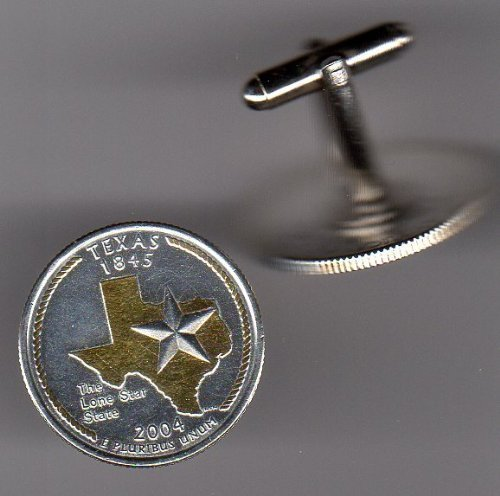Texas Statehood quarter 2 Toned (Uniquely Hand Done) Gold on Silver coin cufflinks for men - men's jewelry men's accessories for him groomsmen by J&J Coin Jewelry