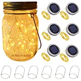 Solar Mason Jar Lid String Lights, 6 Pack 20 LEDs (Jars Not Included) Fairy Firefly String Lights with Mason Jar Ring Lids,Fits Regular Mouth Jars,6 Hanges Included,Best Wedding Patio Yard Garden Solar Lanterns Decor (6 Pack 20 Leds Lids & Hangers(No Jars))