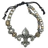 Gypsy Jewels Fleur De Lis Beaded Silver Tone Pull Tie Bracelet (Silver Tone & Gold Tone)