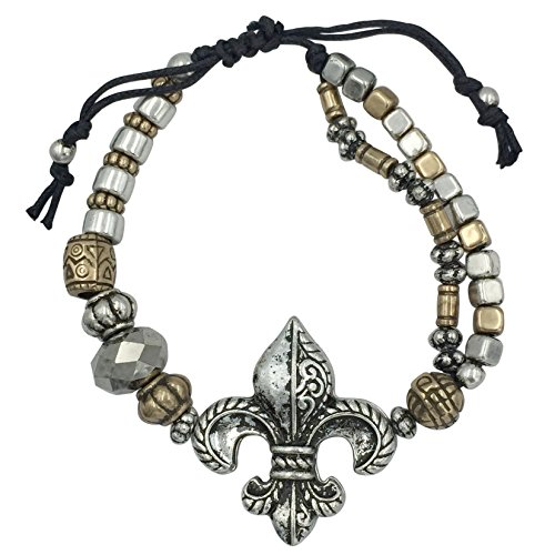 Gypsy Jewels Fleur De Lis Beaded Silver Tone Pull Tie Bracelet (Silver Tone & Gold Tone) by Gypsy Jewels