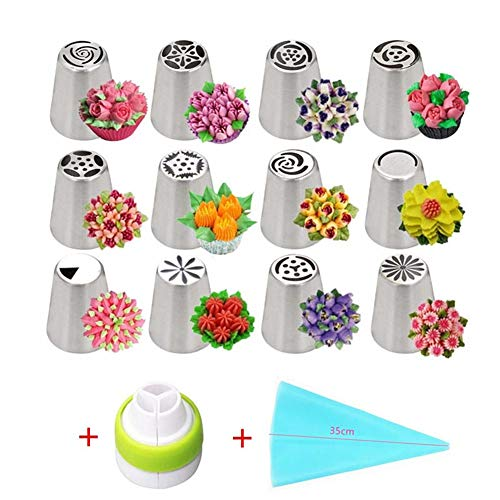 Russian Piping Tips Set, 14pcs Cake Cupcake Decorating Supplies Kit, Tulip Icing Nozzles Flowers Shaped, Frosting Bags and Tips Baking Supplies (1)