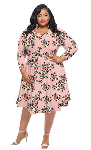 HPLY Women Fashion Casual Dresses Plus Size Printed Round Neck Maxi Dress Pink/3XL