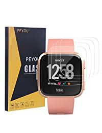 PEYOU 4PCS Premium Tempered Glass 9H Screen Protector Perfect Compatible Fitbit Versa Smartwatch 2018