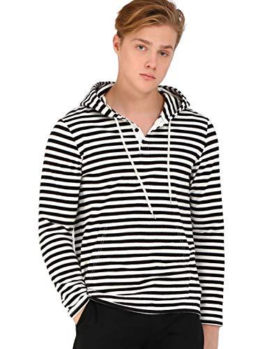 TATT 21 Men Striped Henley Hoodie Lightweight Long Sleeve Casual Shirt Hoodies XL Black White