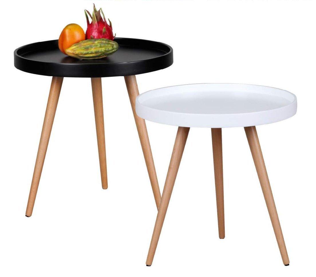 Design Couchtisch SKANDI Ø 50 cm x 50 cm Form Rund Skandinavischer Retro Look | Matt Lackierter Wohnzimmertisch mit Holz-Gestell | Wohnzimmer Möbel Tisch | Dreibein Beistelltisch Farbe: Schwarz