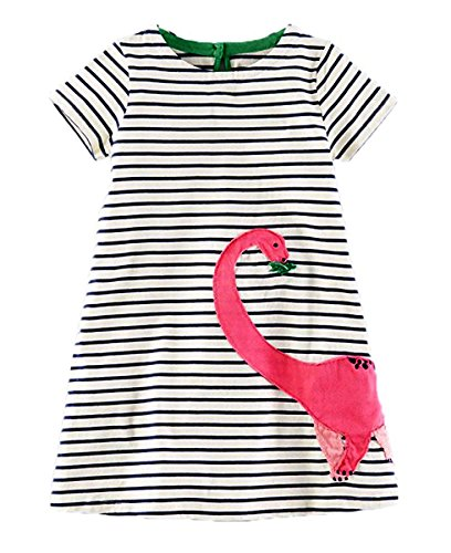 lymanchi Toddler Girl Short Sleeve Casual Cartoon Striped Applique T-Shirt Dress 909554 4T]()
