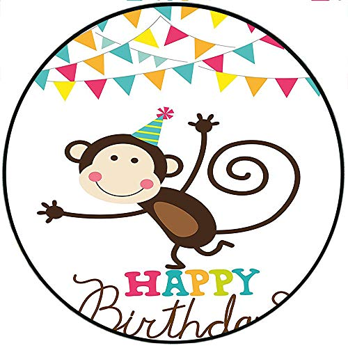 Short Plush Round Carpet Birthday for Kids Brown Monkey Posing at a Party with Two Line Flags Cone Image Color Living Room Computer Chair 74.8