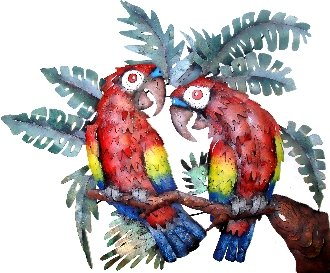 Free Form Parrots Sitting on a Leafy Branch Metal Wall Art